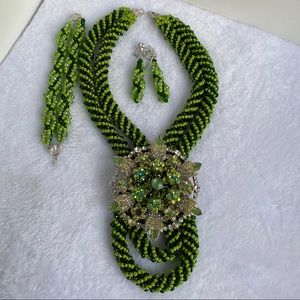hand made bead jewelry with an elegant brooch